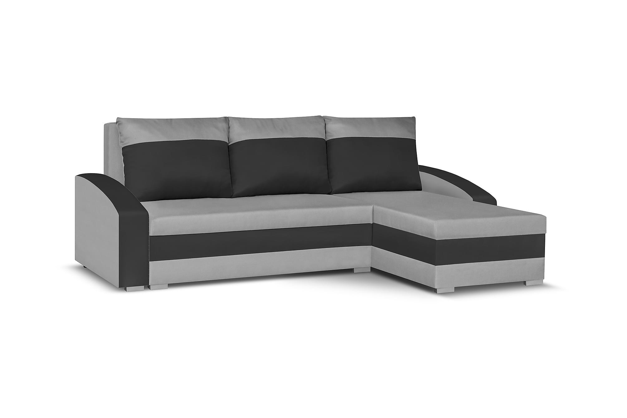 Banyoles divanbäddsoffa grå/svart