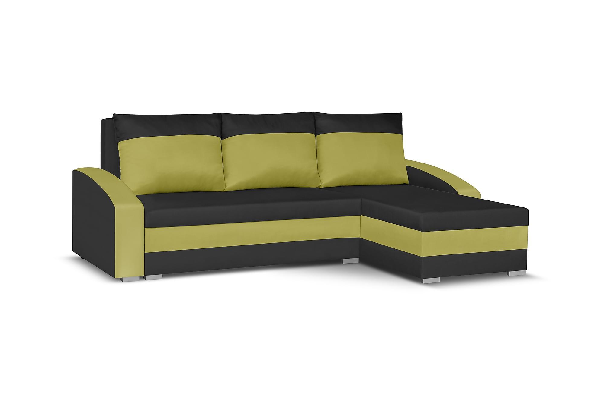 Banyoles divanbäddsoffa svart/grön