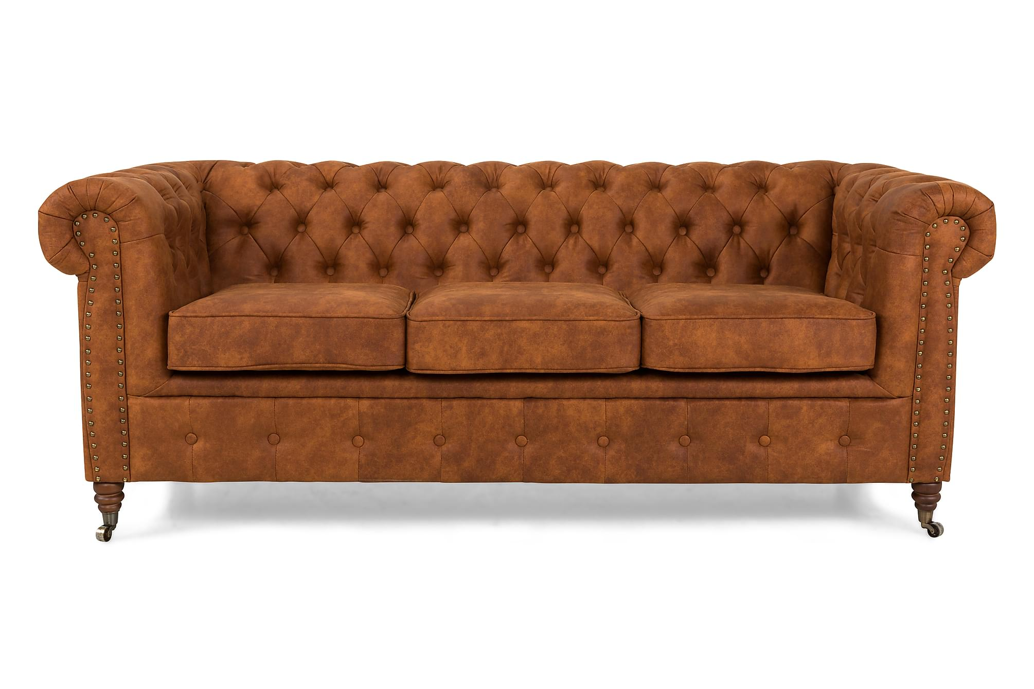 CHESTERFIELD LUX 3-sits Soffa Cognac, Chesterfieldsoffor