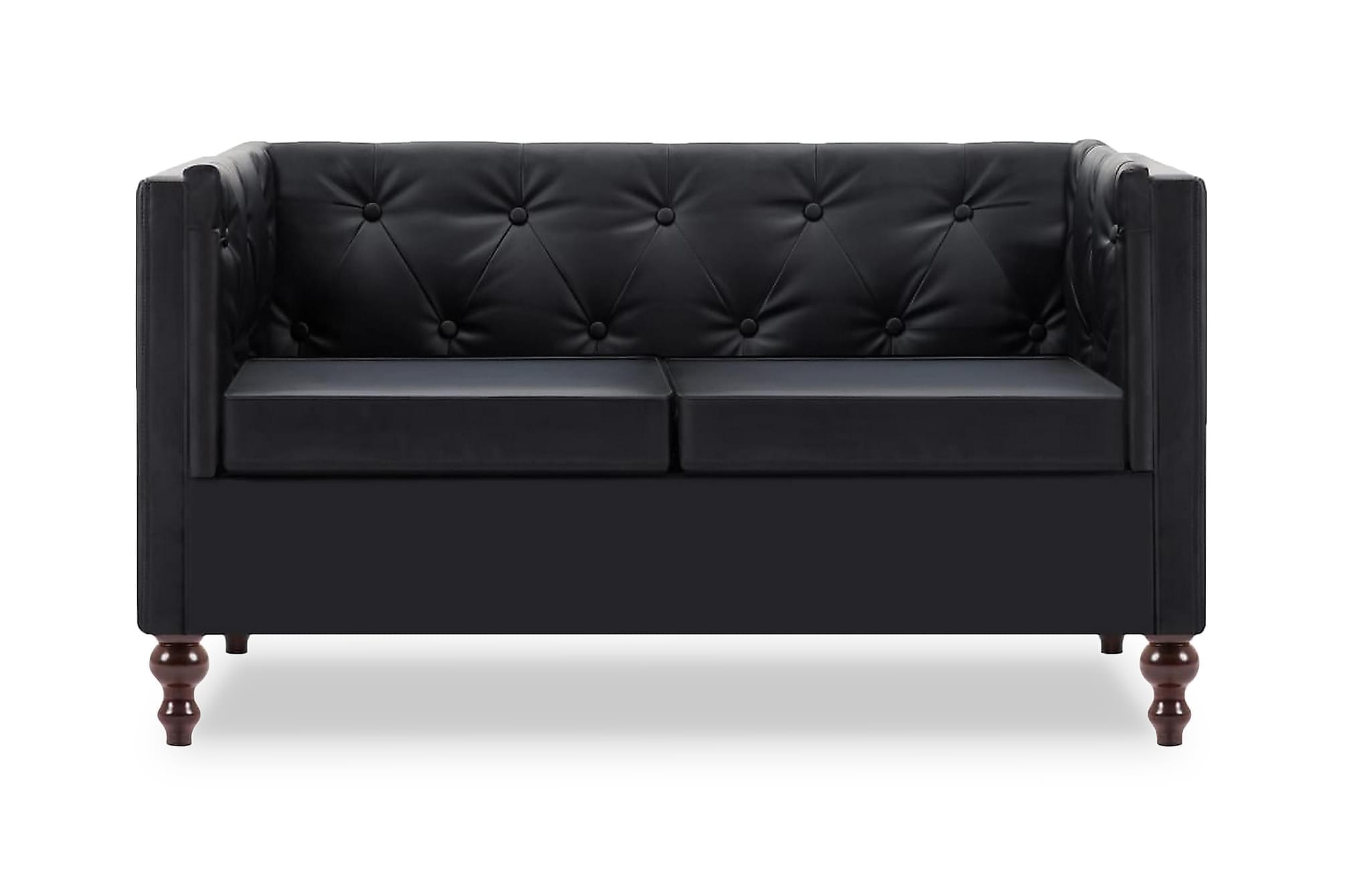 Chesterfieldsoffa 2-sits konstläderklädsel svart