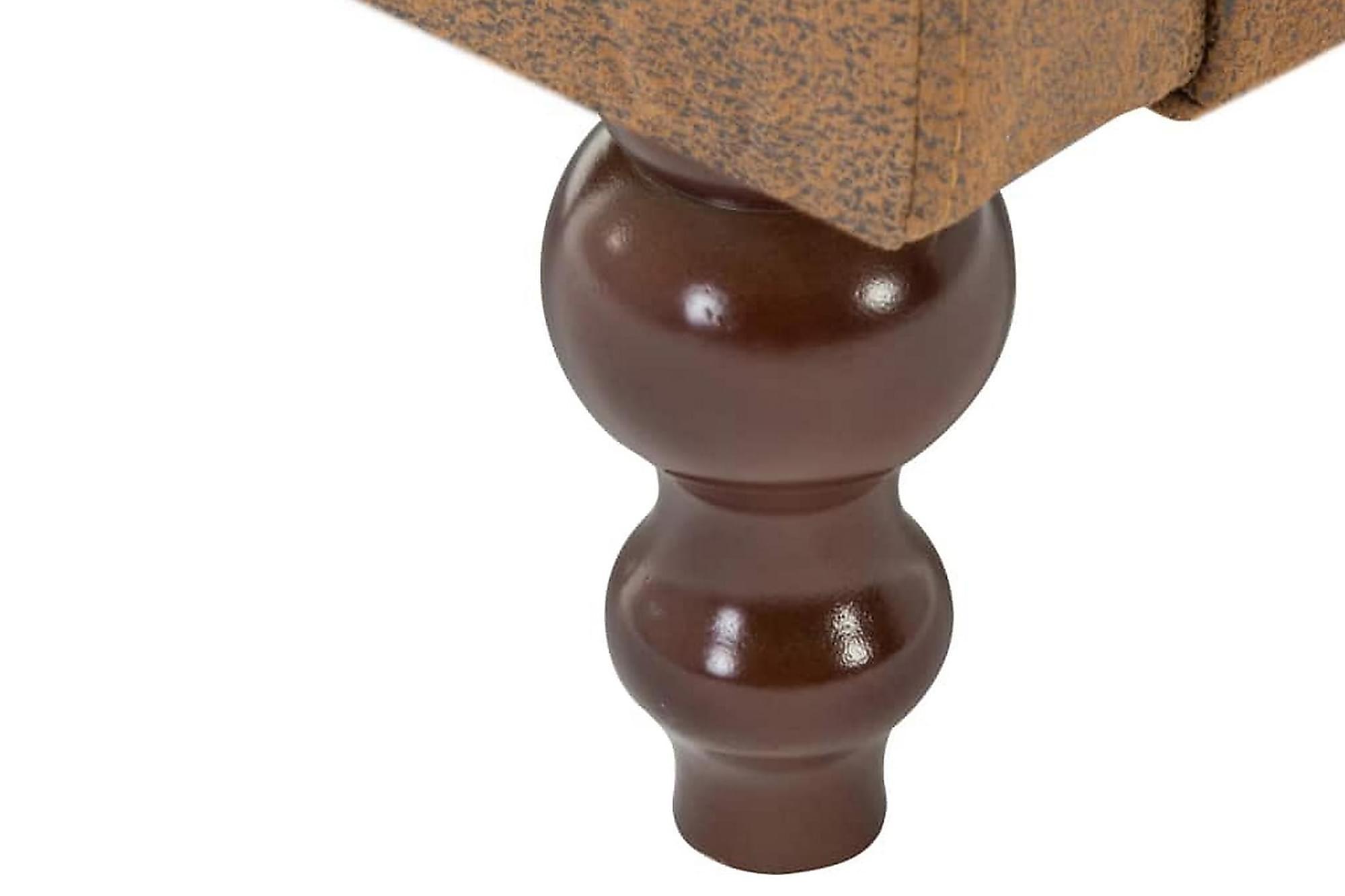 Chesterfieldsoffa 2-sits tygklädsel mockaimitation brun