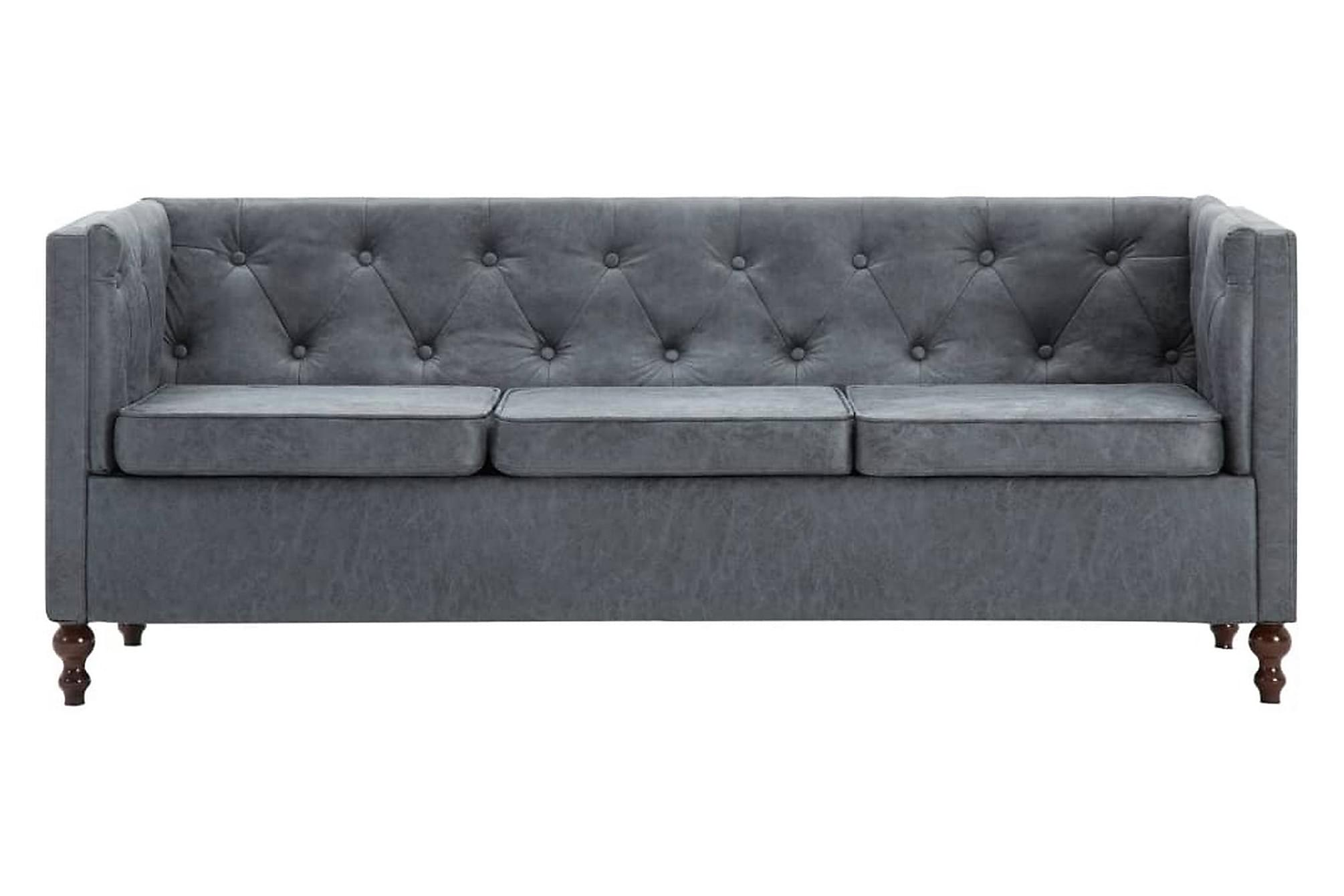 Chesterfieldsoffa 3-sits tygklädsel grå
