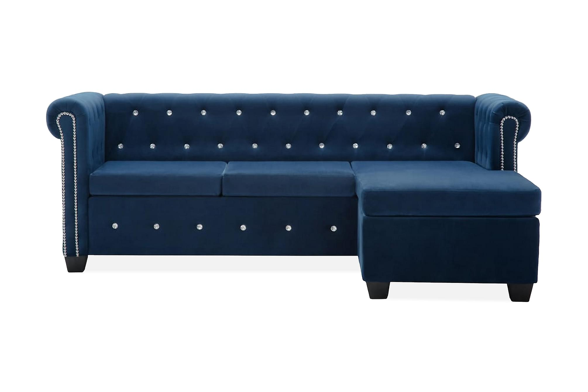 Chesterfieldsoffa L-formad sammet 199x142x72 cm blå