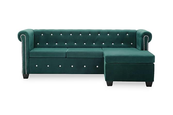 Chesterfieldsoffa L-formad sammet 199x142x72 cm grön - Grön - Möbler & Inredning - Soffor - Chesterfieldsoffor