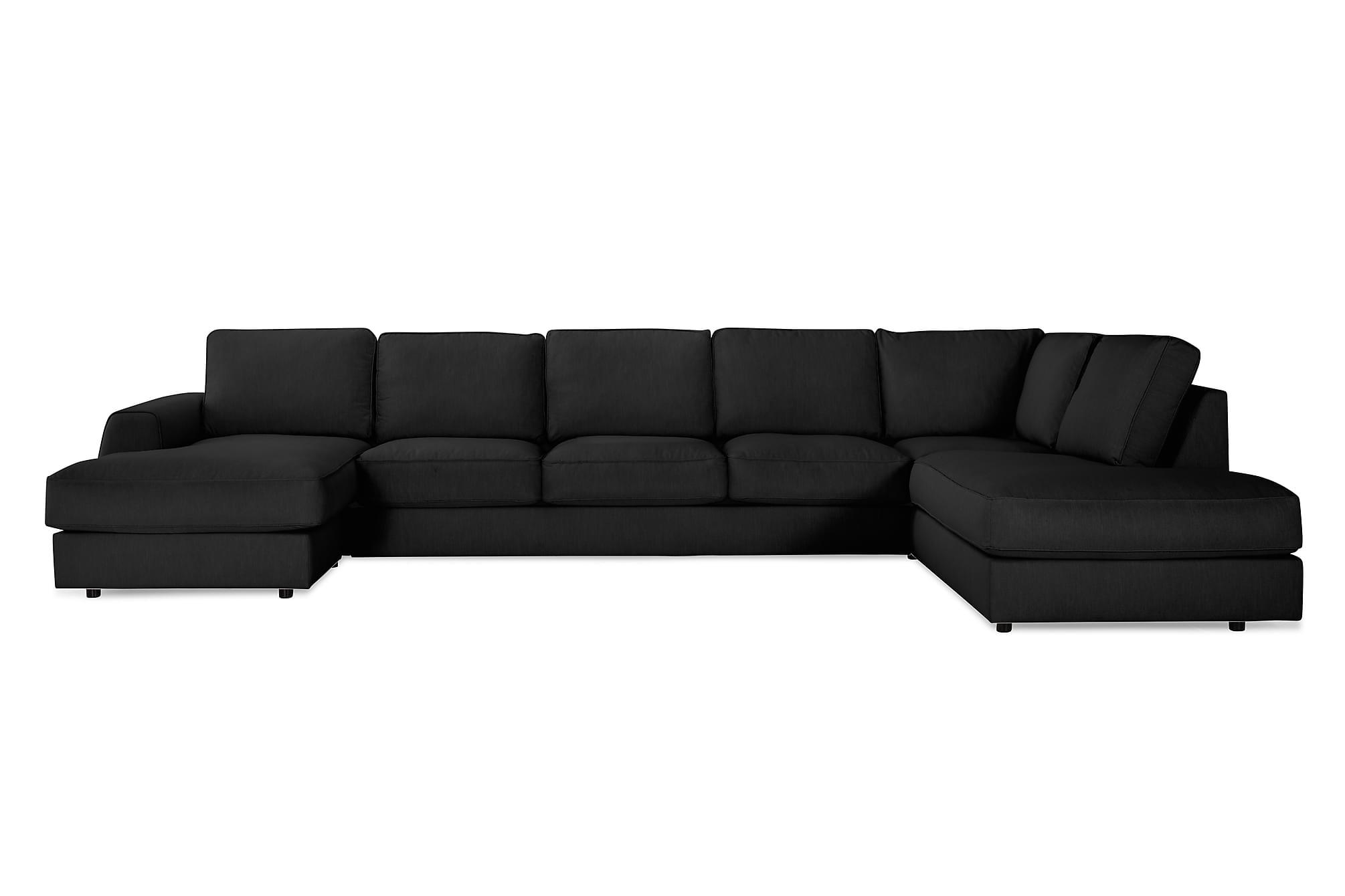 CLARKSVILLE LYX U-soffa med Divan Large Vänster Linnesvart