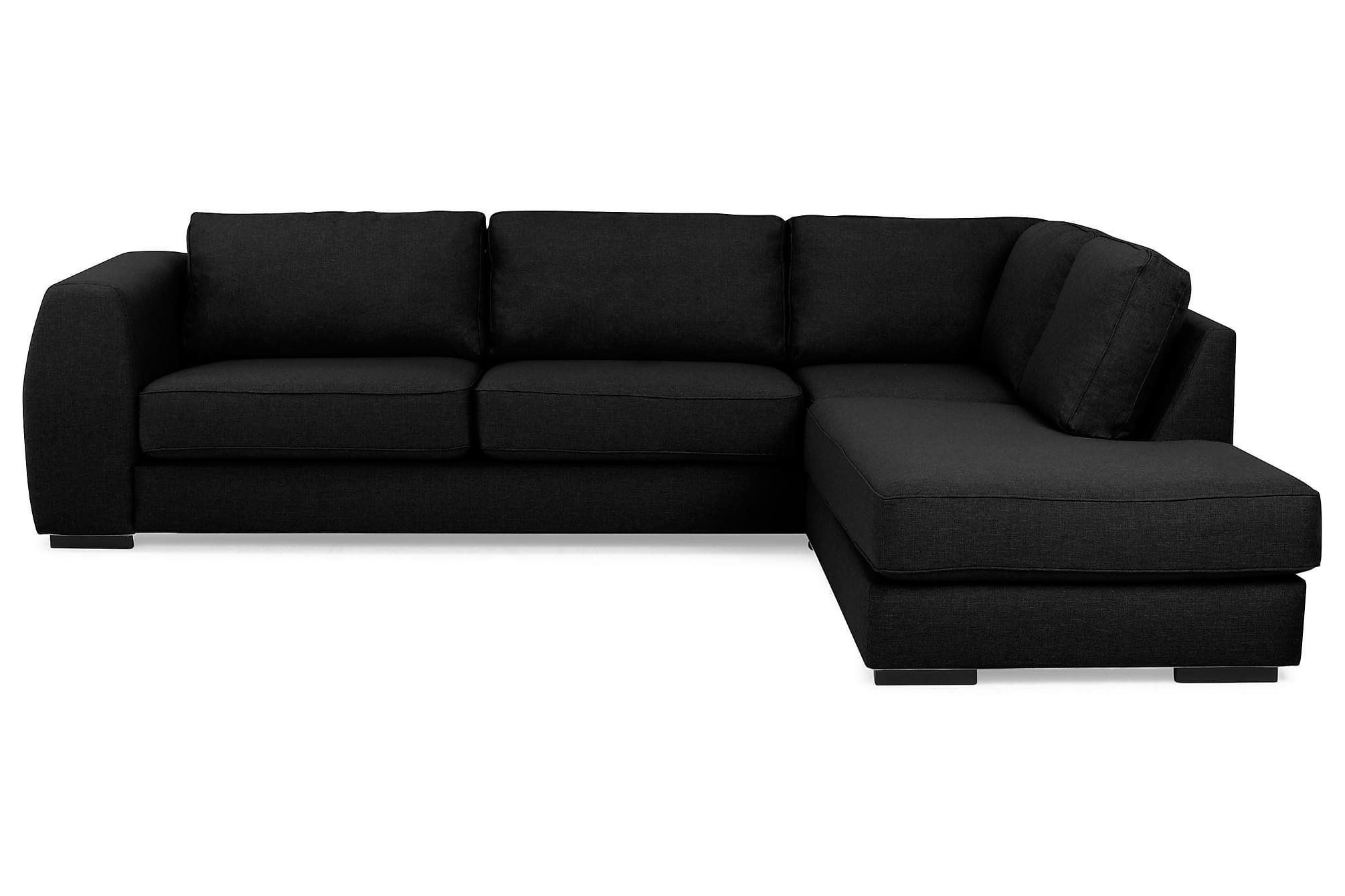 Clarkville 3-sits soffa med schäslong höger svart