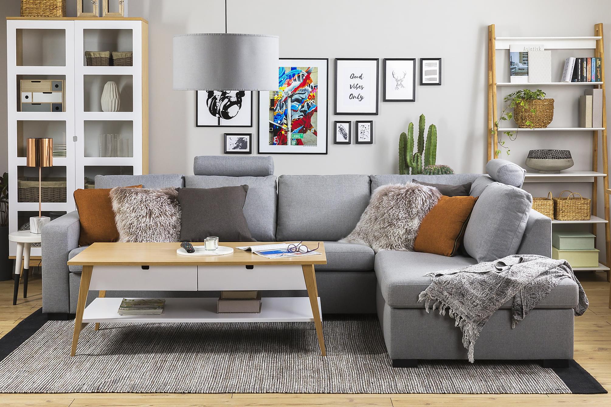NEW YORK 3-sits Soffa med Schäslong Höger Ljusgrå