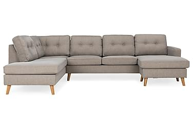 RIVALTA U-soffa med Divan Höger Tvättbart Tyg Gråbrun