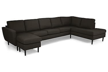 STAMFORD U-soffa Large med Divan Vänster Brun/Svart
