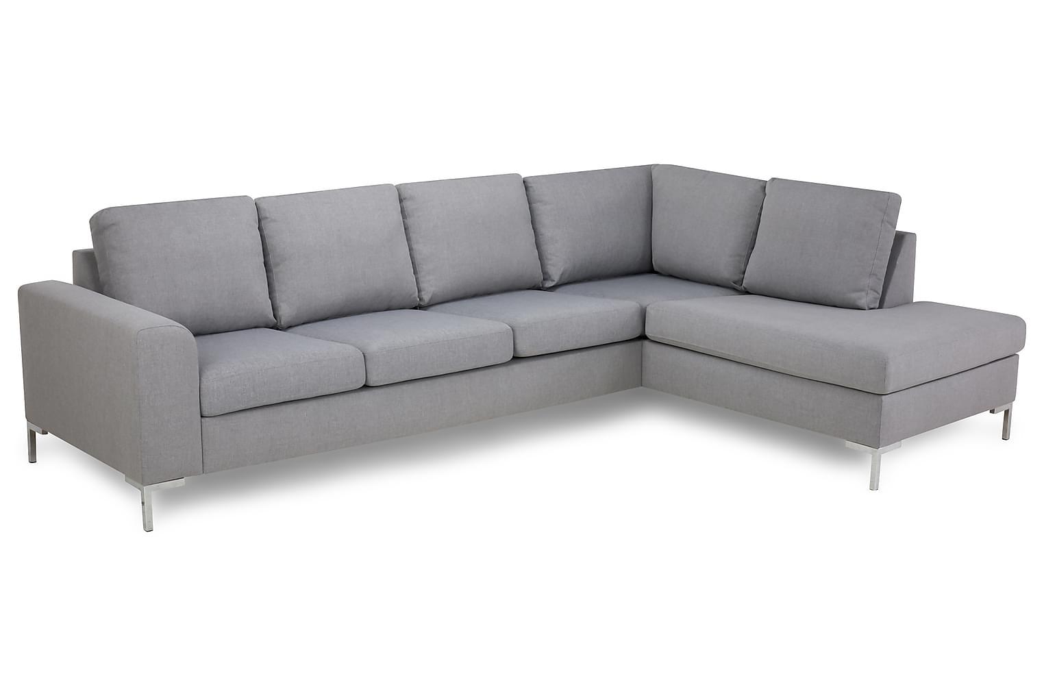 TURIN L-soffa 3-sits Höger Ljusgrå/Metall -