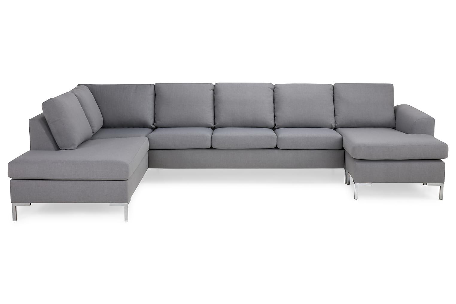 TURIN U-soffa XL Vänster Ljusgrå/Metall -