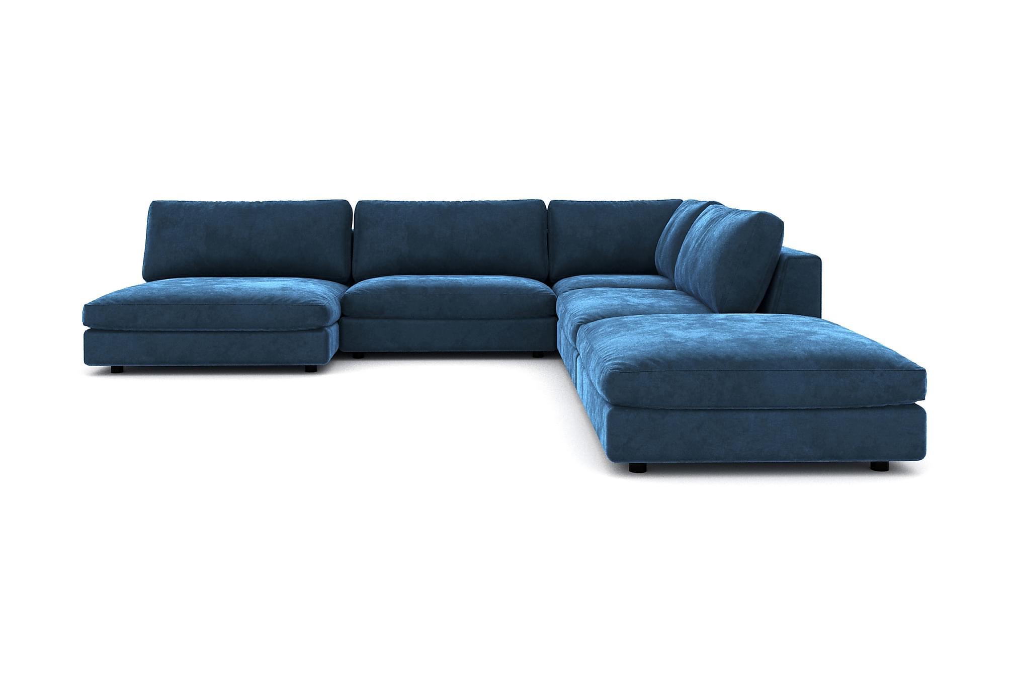 Alstad modulhörnsoffa med divan vändbar sammet midnattsblå
