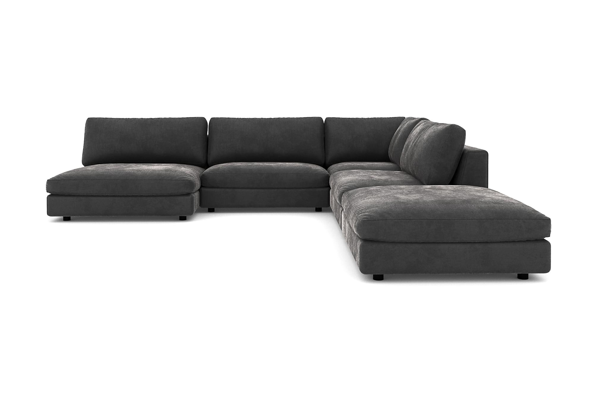 Alstad modulhörnsoffa med divan vändbar sammet mörkgrå