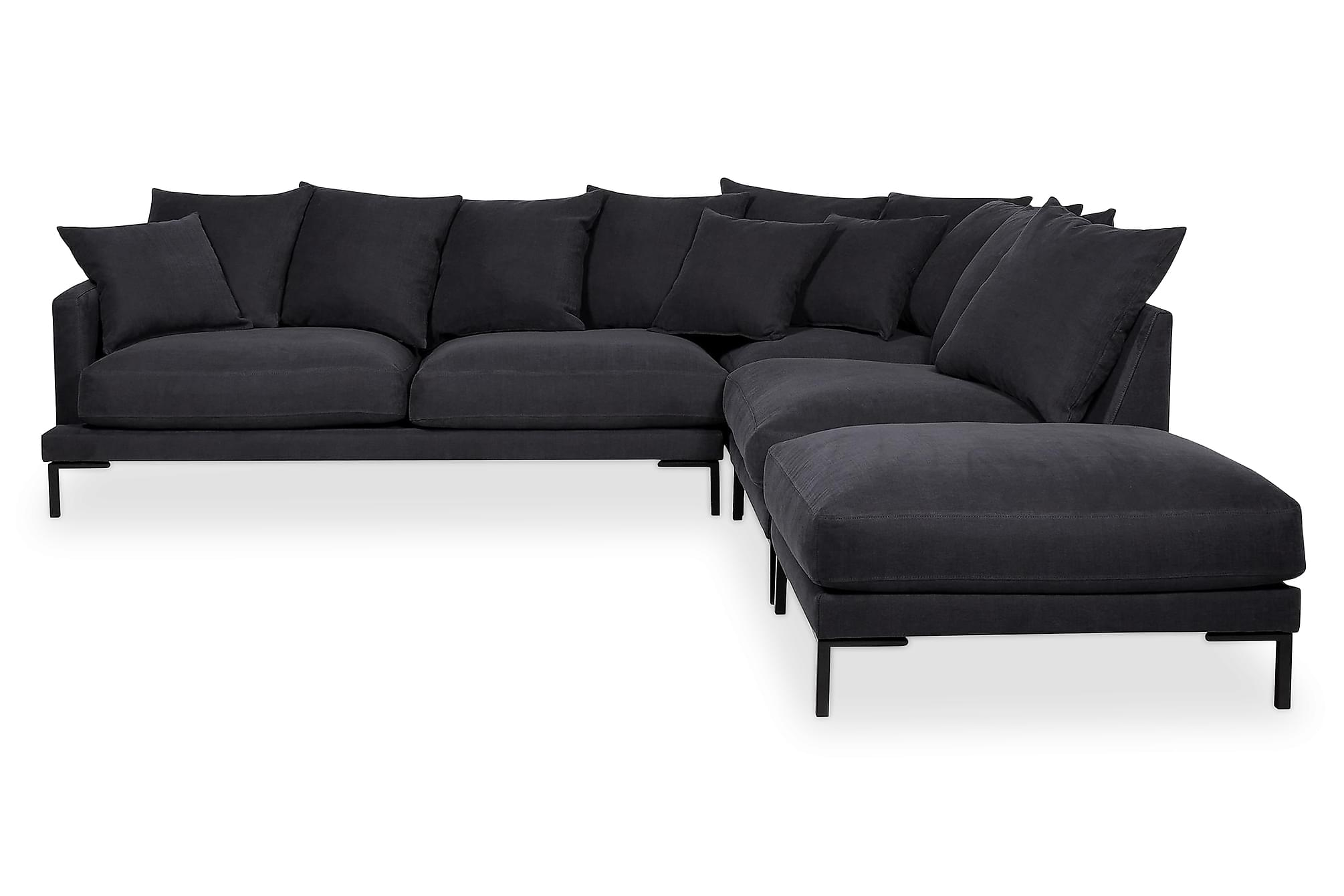 MONDIAL 3-sits Soffa med Schäslong Höger Mörkgrå