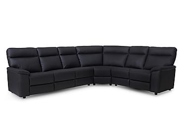 SUNBURY Hörnsoffa Läder/PVC Höger Svart