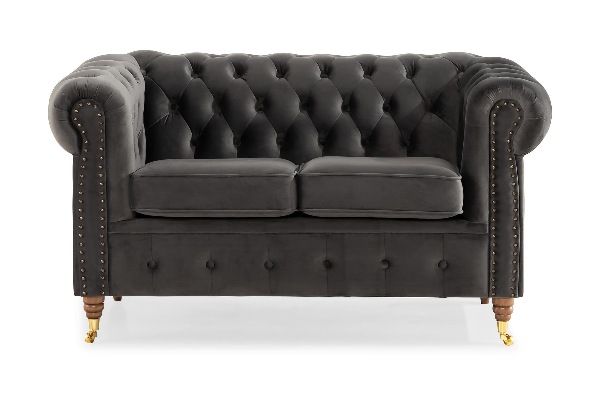 CHESTERFIELD LUX 2-sits Soffa Grå, Chesterfieldsoffor