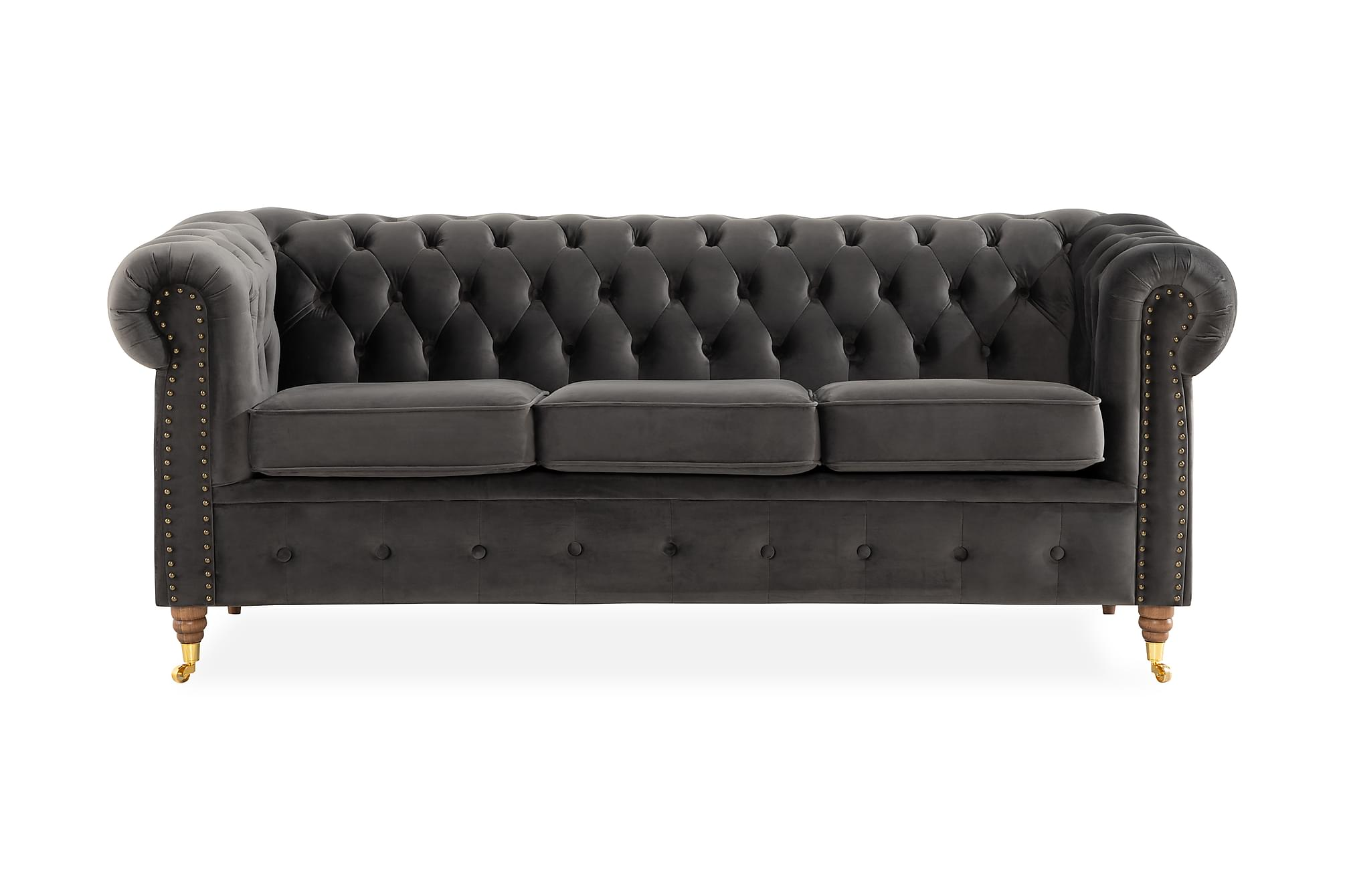 CHESTERFIELD LUX 3-sits Soffa Grå, Chesterfieldsoffor