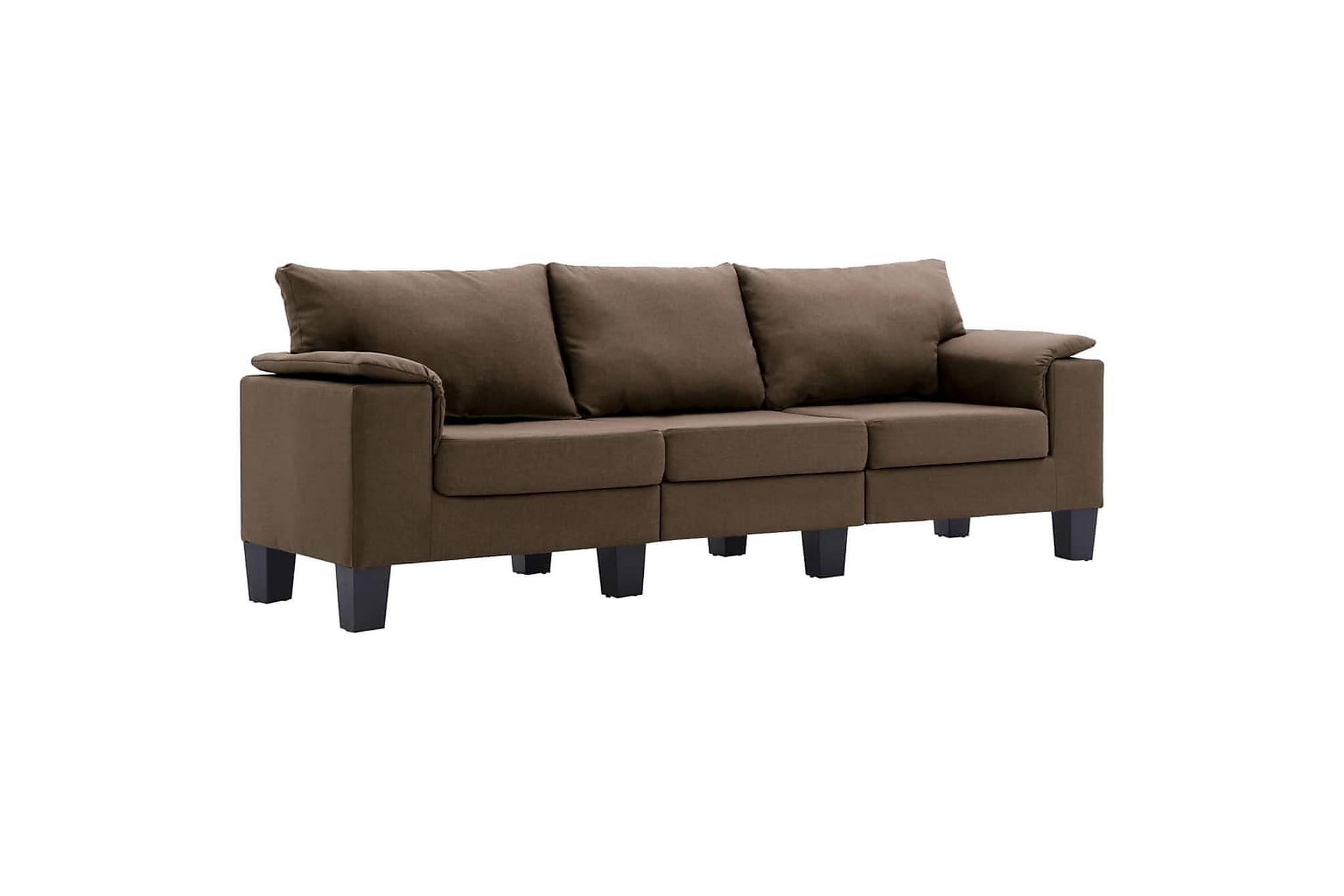 3-sitssoffa brun tyg
