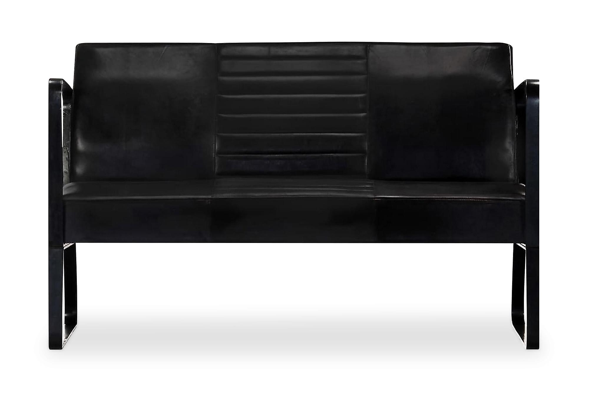 2-sitssoffa äkta läder svart, Skinnsoffor