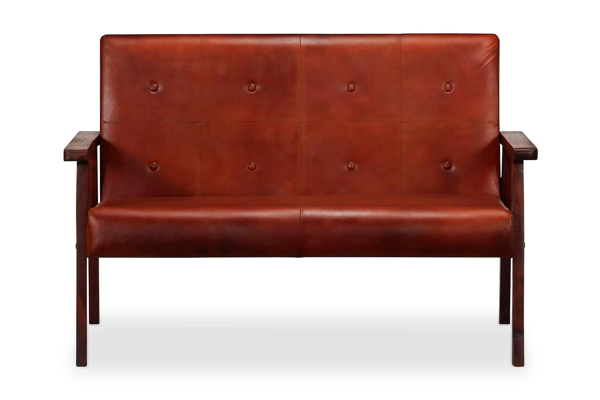 2-sitssoffa brun äkta läder, Skinnsoffor