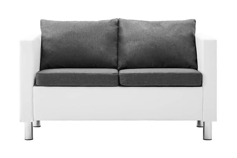 2-sitssoffa i konstläder vit och ljusgrå - Vit - Möbler & Inredning - Soffor - Skinnsoffor