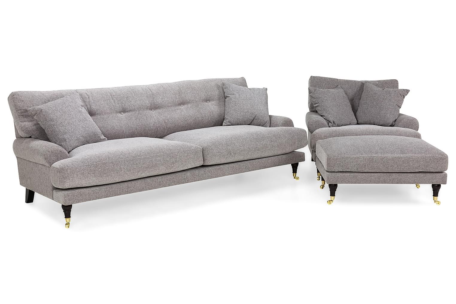 ANTHONY 3-sits+Fåtölj+Fotpall Ljusgrå -