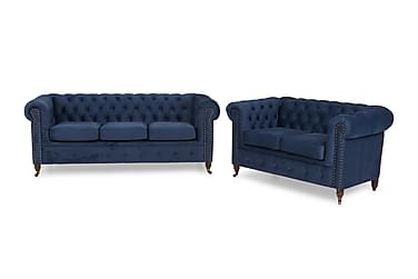 CHESTERFIELD LUX Soffgrupp 3-sits+2-sits Sammet