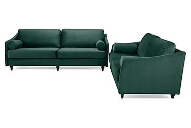 RICADI Soffgrupp 3-sits+2-sits Sammet Grön