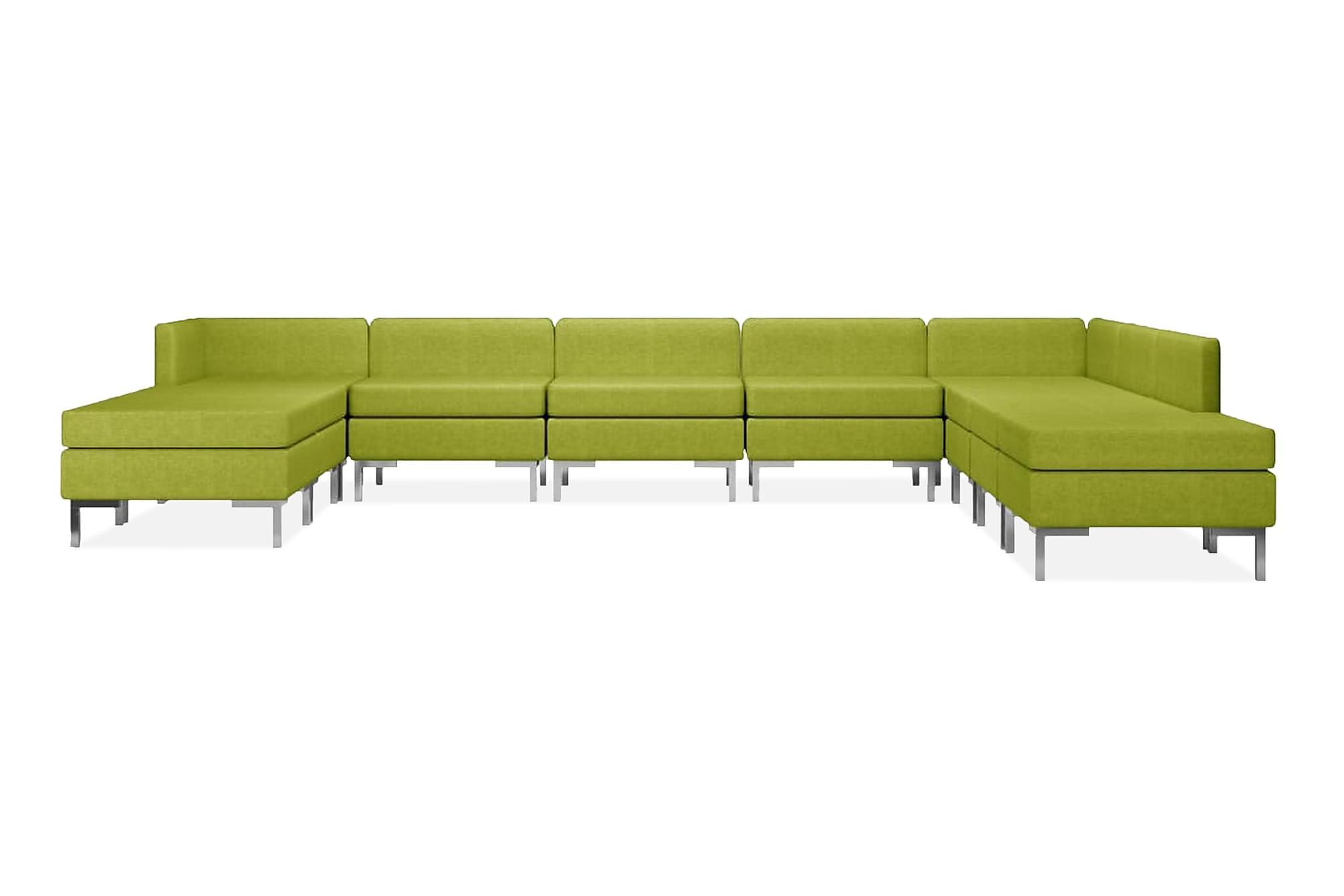 Soffgrupp tyg 10 delar grön