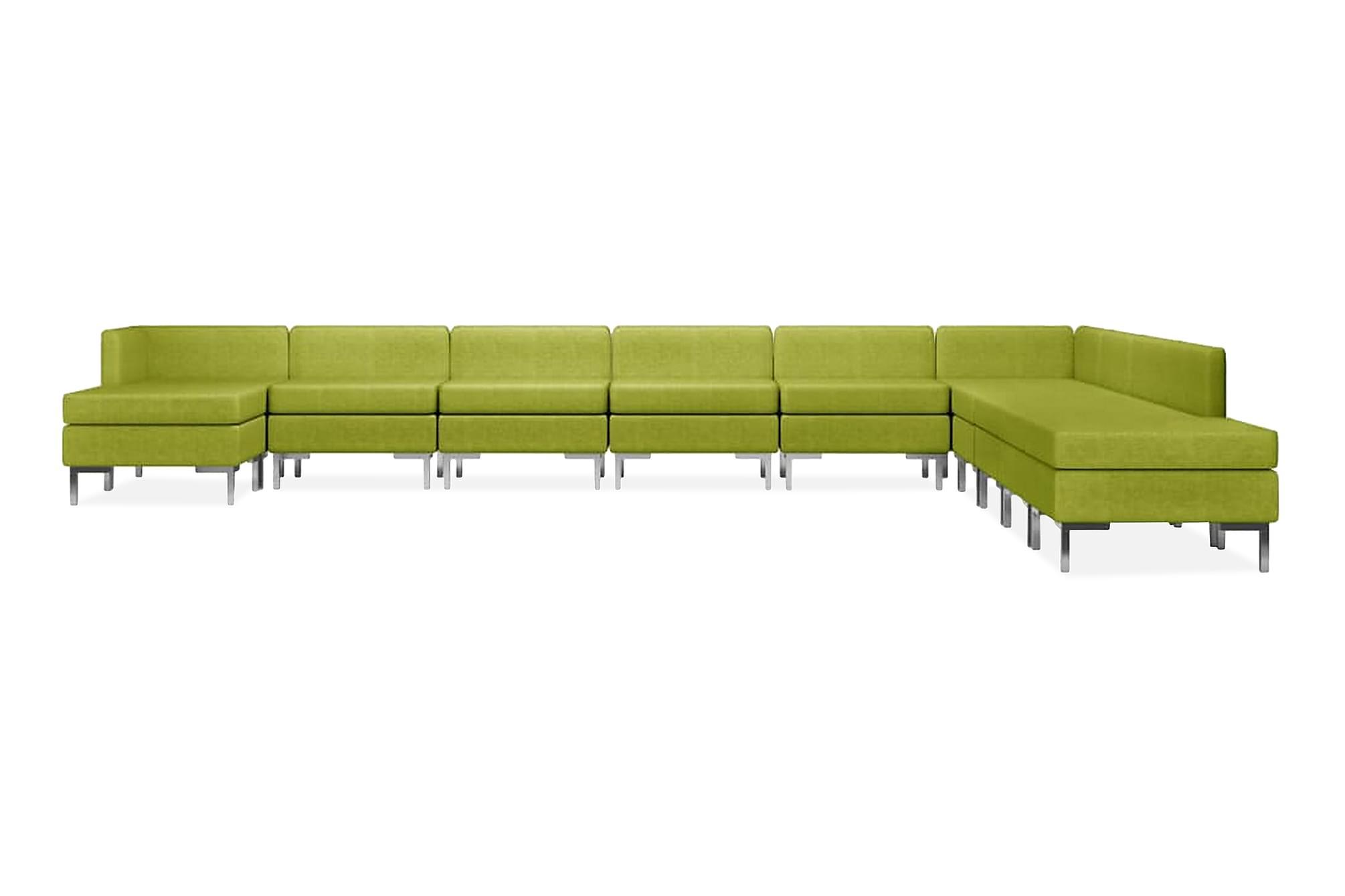 Soffgrupp tyg 11 delar grön