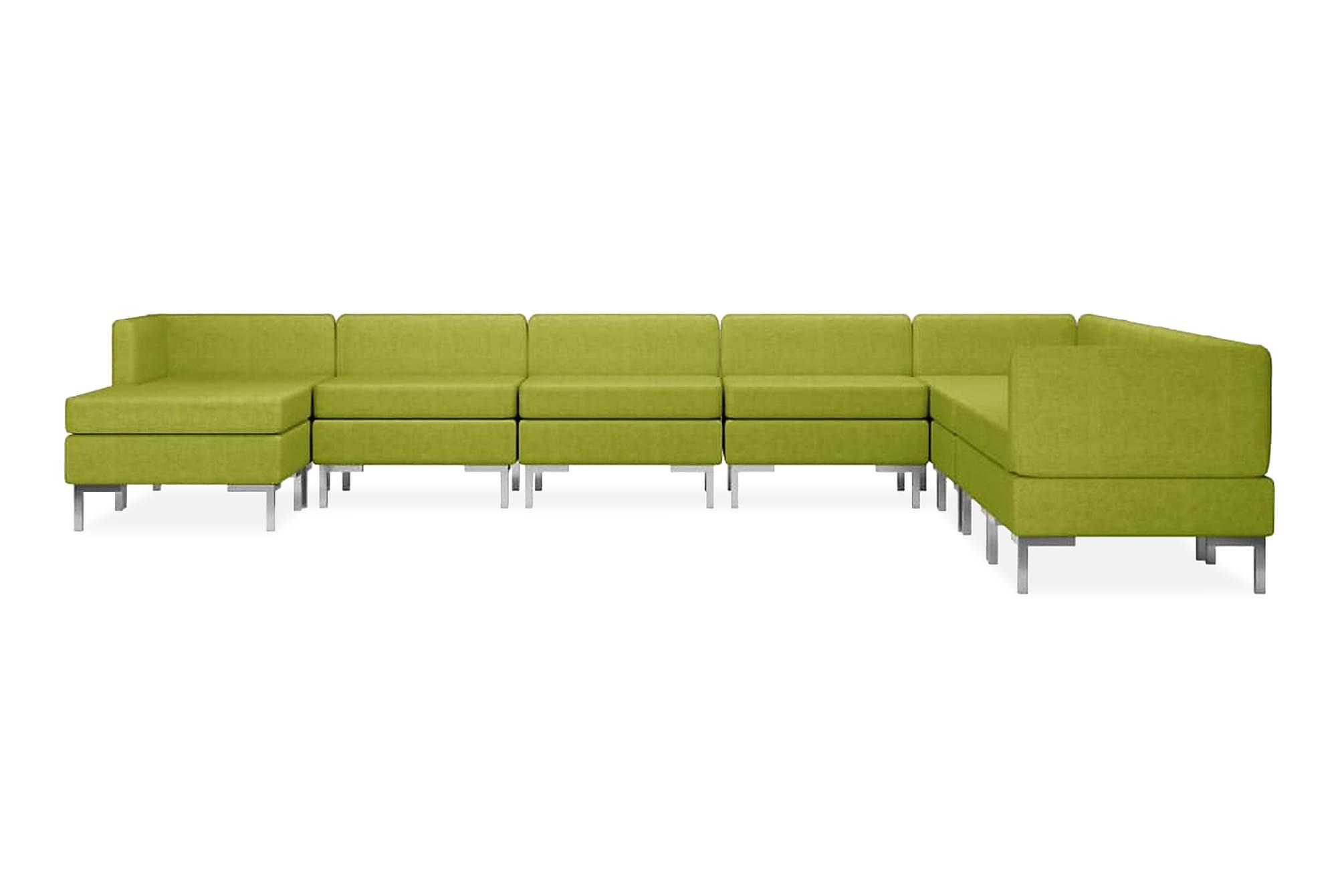 Soffgrupp tyg 9 delar grön