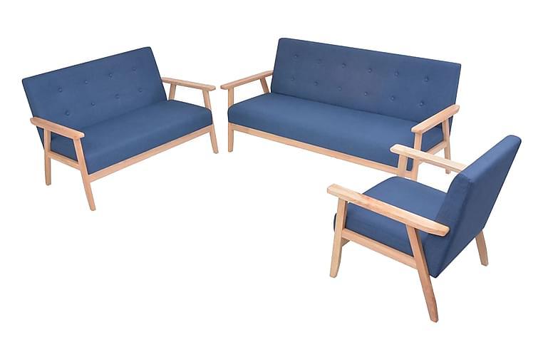 Soffuppsättning 3 st tyg blå - Blå - Möbler & Inredning - Soffor - Soffgrupper