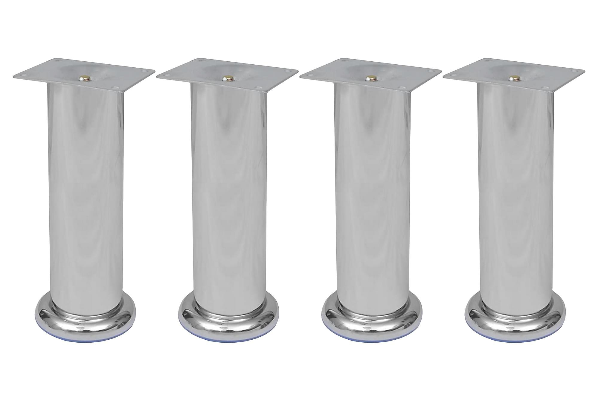 4 Runda soffben i krom 180 mm, Sofftillbehör