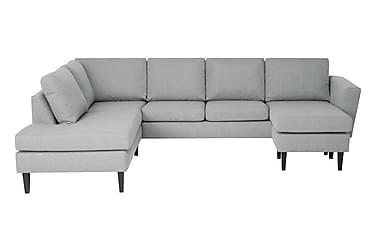 ALONSO U-soffa med Divan Höger Ljusgrå/Svart