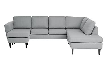 ALONSO U-soffa med Divan Vänster Ljusgrå/Svart