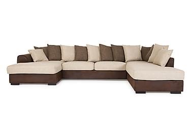 DEAN U-soffa med Divan Vänster inkl Kuvertkuddar Brun