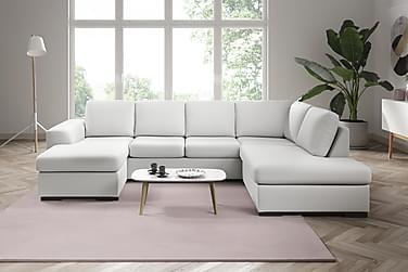 NASHVILLE LYX U-soffa Large med Divan Vänster Konstläder Vit