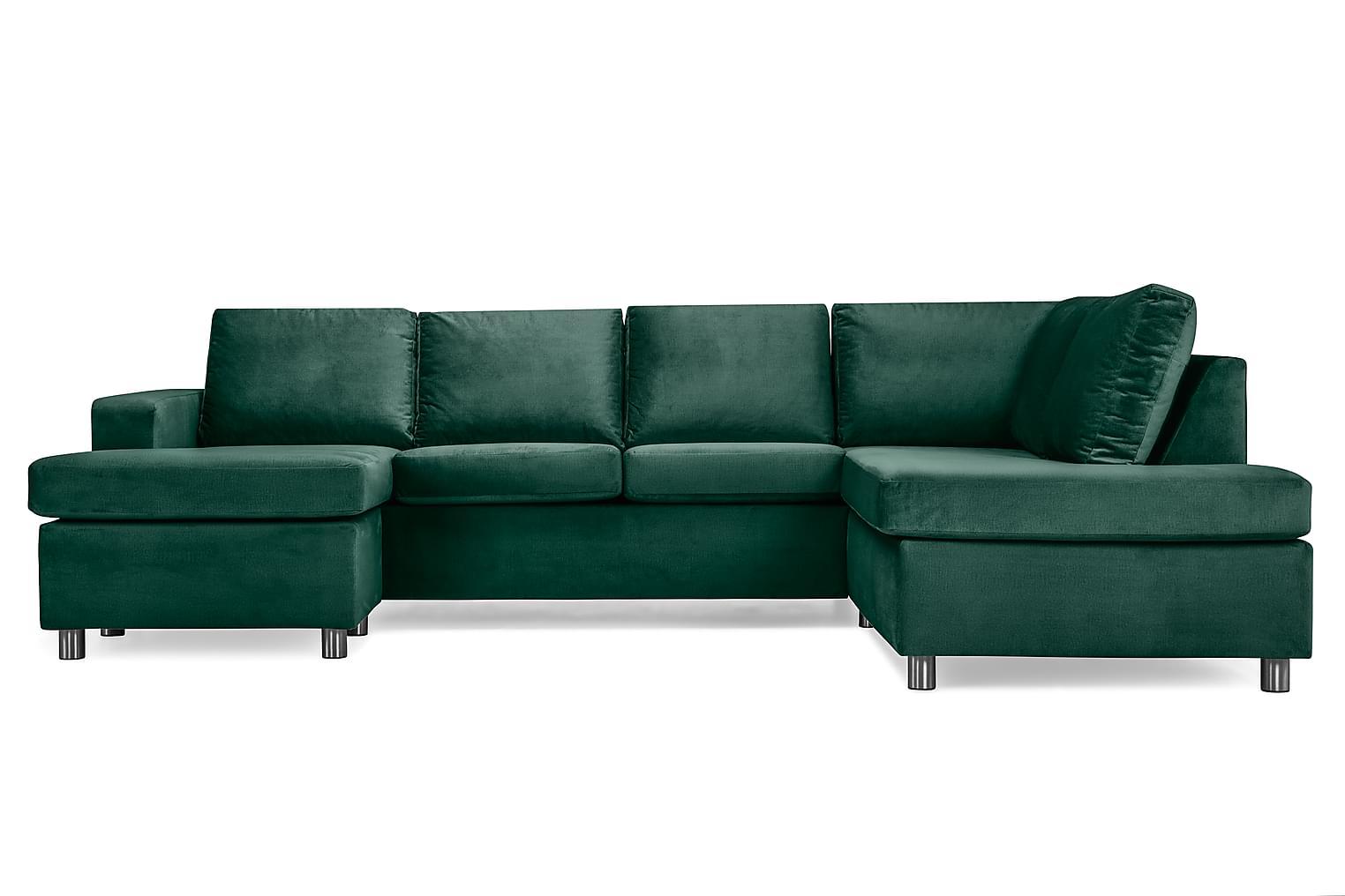 NEW YORK Large U-Soffa Höger Sammet Grön Runda Metall -