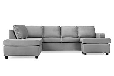 NEW YORK U-soffa Large Divan Höger Sammet Ljusgrå