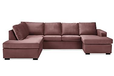NEW YORK U-soffa Large Divan Höger Sammet Rosa