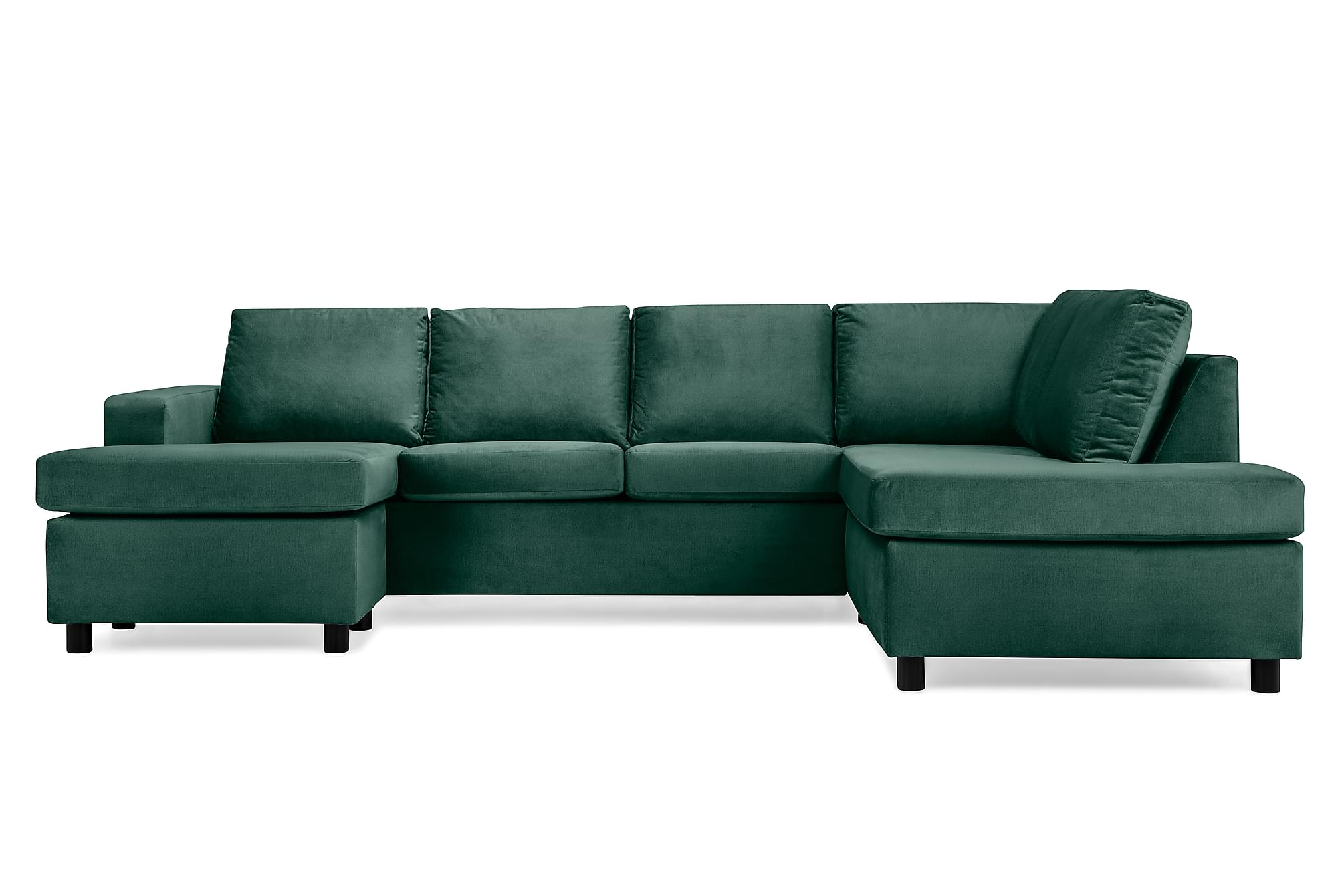 NEW YORK U-soffa Large Divan Vänster Sammet Grön