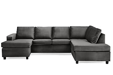NEW YORK U-soffa Large Divan Vänster Sammet Mörkgrå