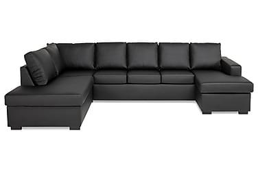 NEW YORK U-soffa XXL Divan Höger Svart Konstläder