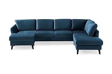 OSCAR U-soffa med Divan Vänster Sammet Midnattsblå