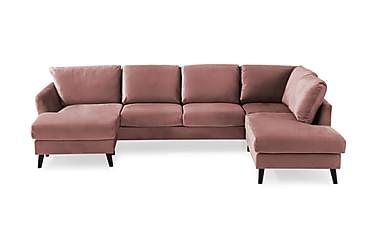 OSCAR U-soffa med Divan Vänster Sammet Rosa