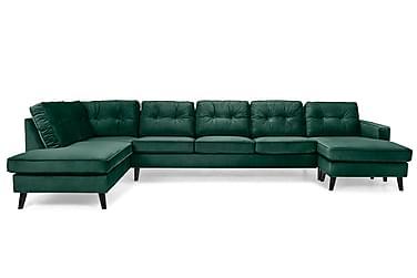 RIVALTA U-soffa Large med Divan Höger Sammet Grön