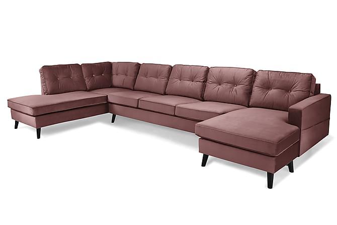 RIVALTA U-soffa Large med Divan Höger Sammet Rosa - Inomhus - Soffor - U-soffor