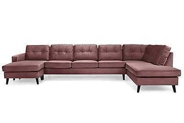 RIVALTA U-soffa Large med Divan Vänster Sammet Rosa