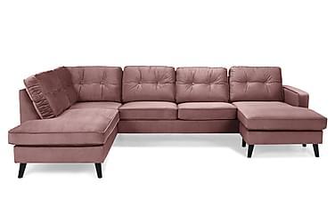 RIVALTA U-soffa med Divan Höger Sammet Rosa