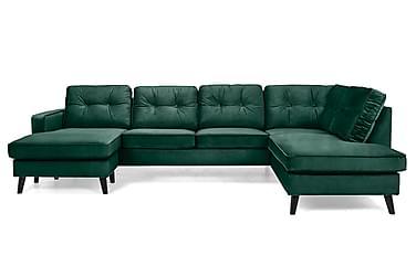 RIVALTA U-soffa med Divan Vänster Sammet Grön